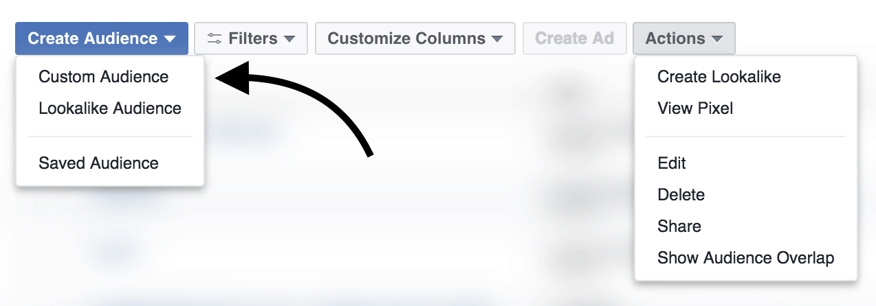 Facebook Audiences menu Custom Audience.png